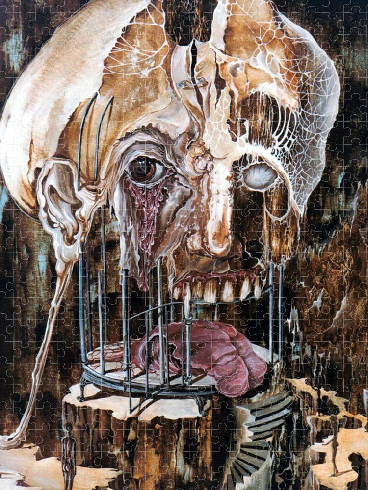 Surrealism Puzzle featuring the painting Deterioration Of Mind Over Matter by Otto Rapp