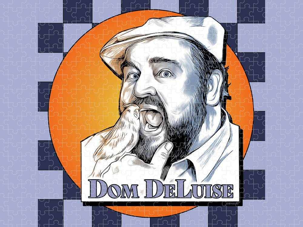 Dom Deluise Puzzle featuring the digital art Dom and the Bird by Greg Joens