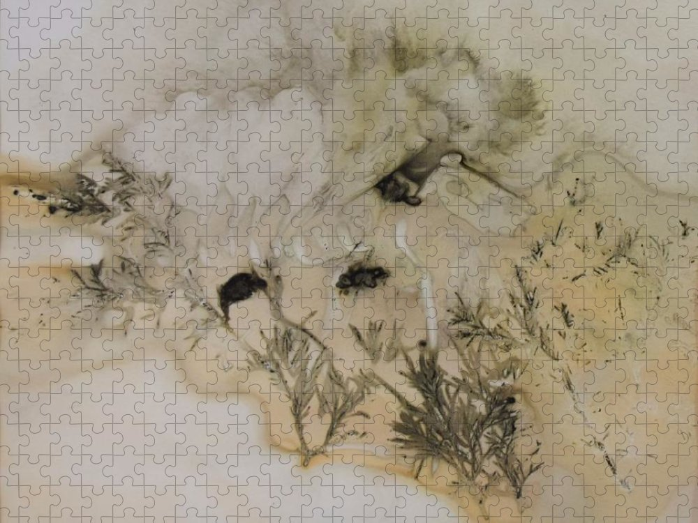 Nature Puzzle featuring the mixed media Eco print 5 by Charla Van Vlack