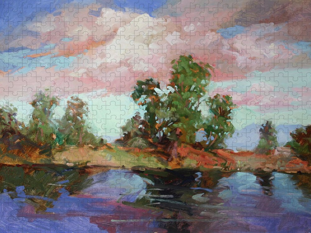 Plein Air Paintings Puzzle featuring the painting End of the Cottonwoods by Betty Jean Billups