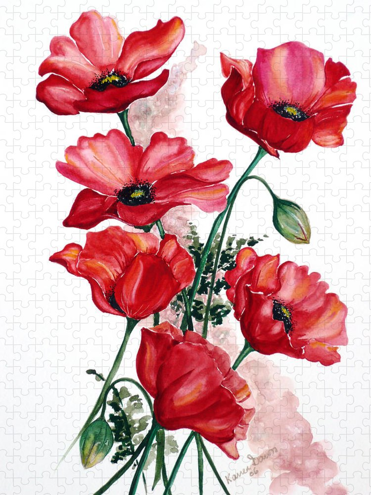Original Watercolor Of English Field Poppies Painted On Arches Watercolor Paper Puzzle featuring the painting English Field Poppies. by Karin Dawn Kelshall- Best