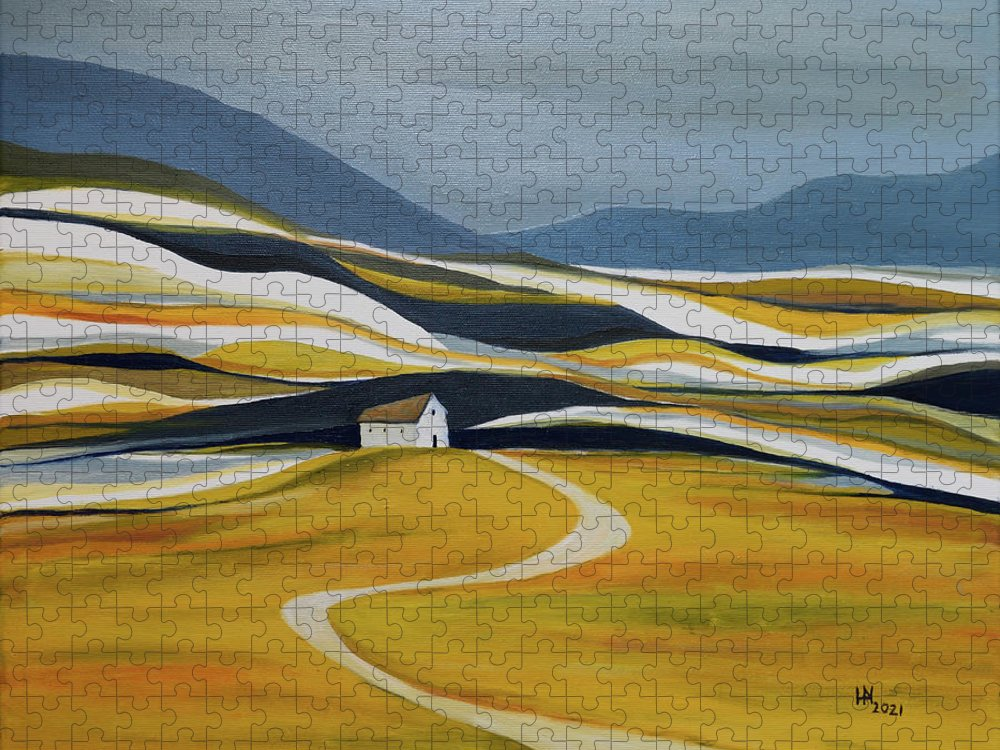 Landscape Puzzle featuring the painting Far Away From the Crowd by Aniko Hencz