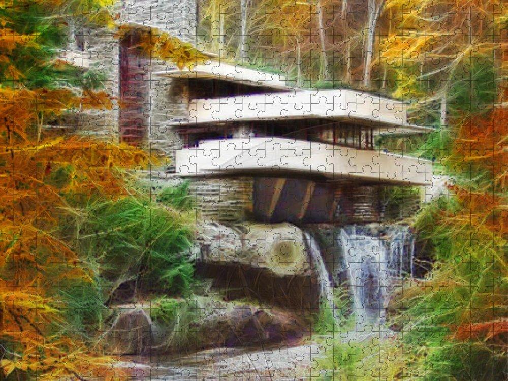 Frank Lloyd Wright Puzzle featuring the digital art Fixer Upper - Square Version - Frank Lloyd Wright's Fallingwater by Studio B Prints