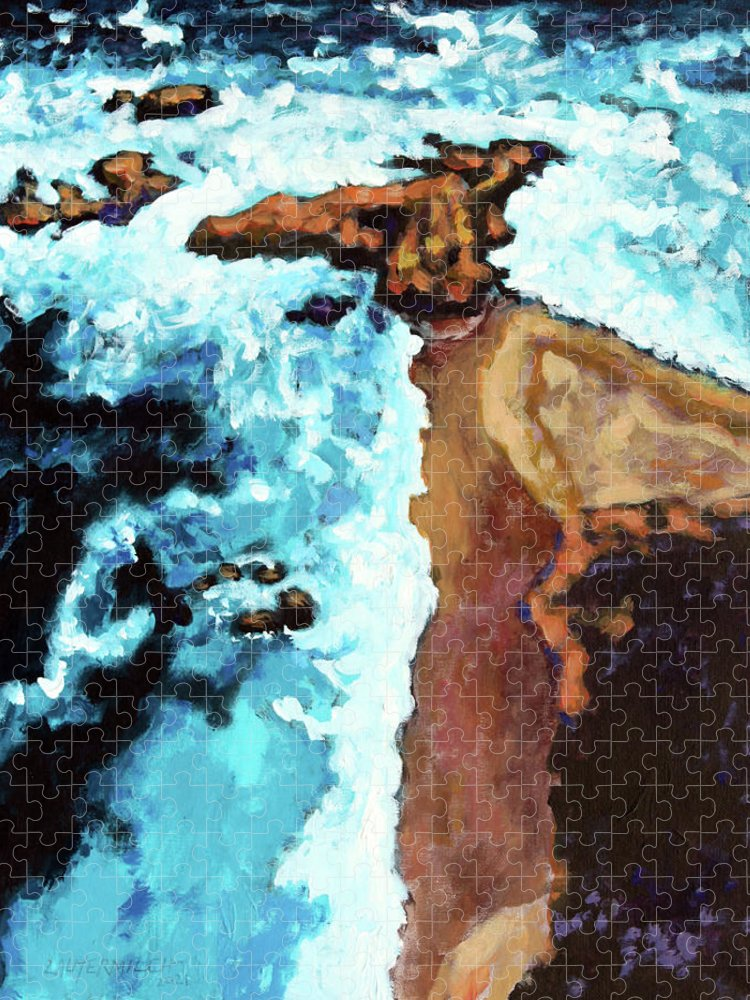 Ocean Puzzle featuring the painting Flight Over Ocean by John Lautermilch