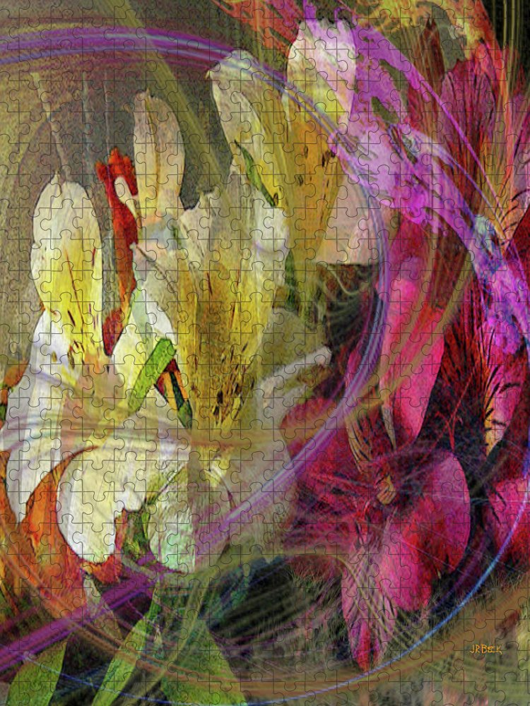 Floral Inspiration Puzzle featuring the digital art Floral Inspiration by John Robert Beck