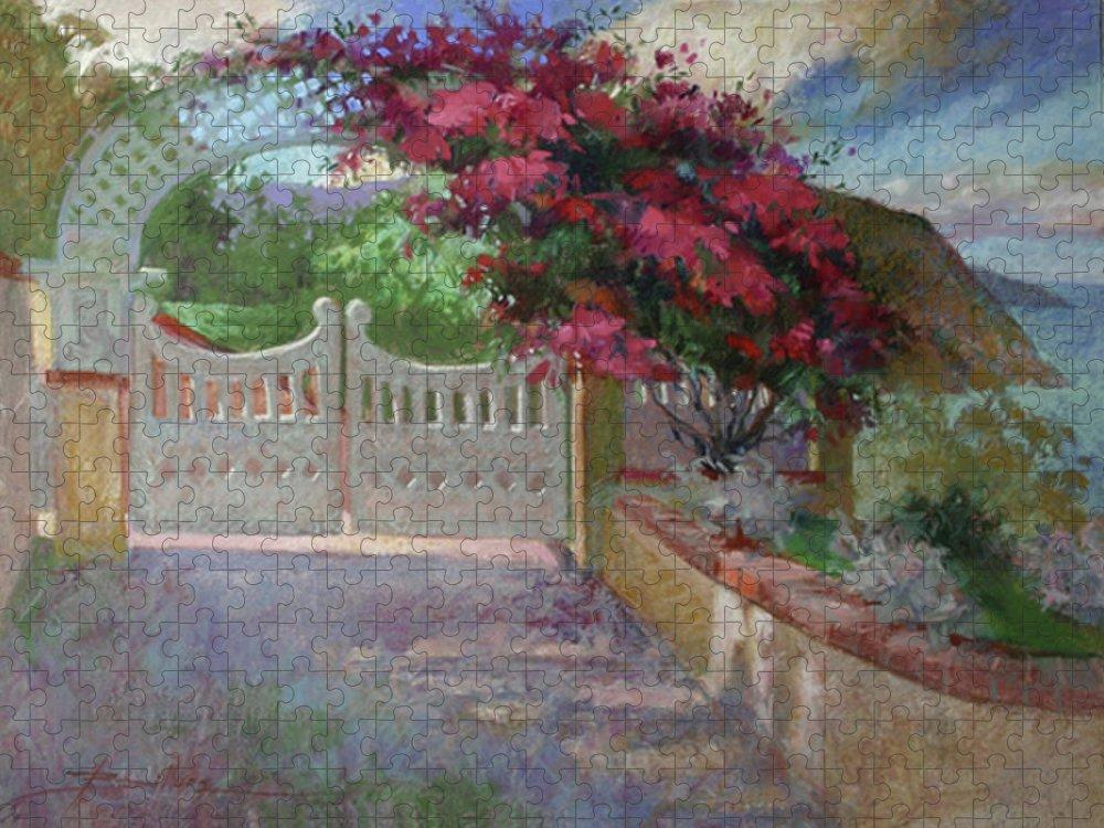 Catalina Island Puzzle featuring the painting Gateway Splendor - Catalina Island by Betty Jean Billups