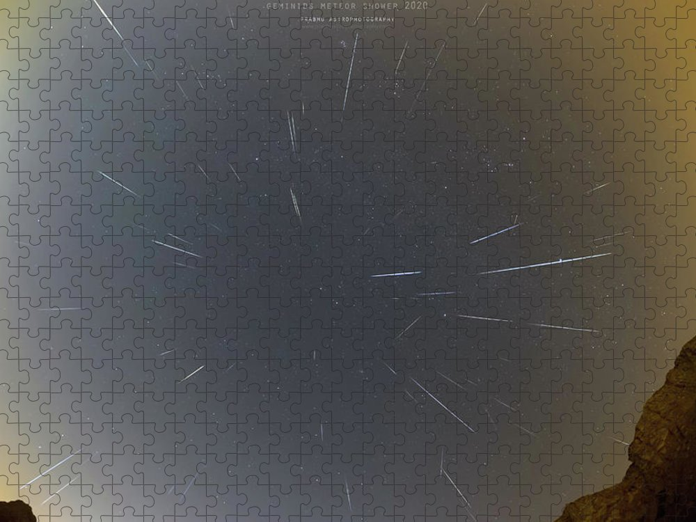 Puzzle featuring the photograph Geminids Meteor Shower 2020 by Prabhu Astrophotography