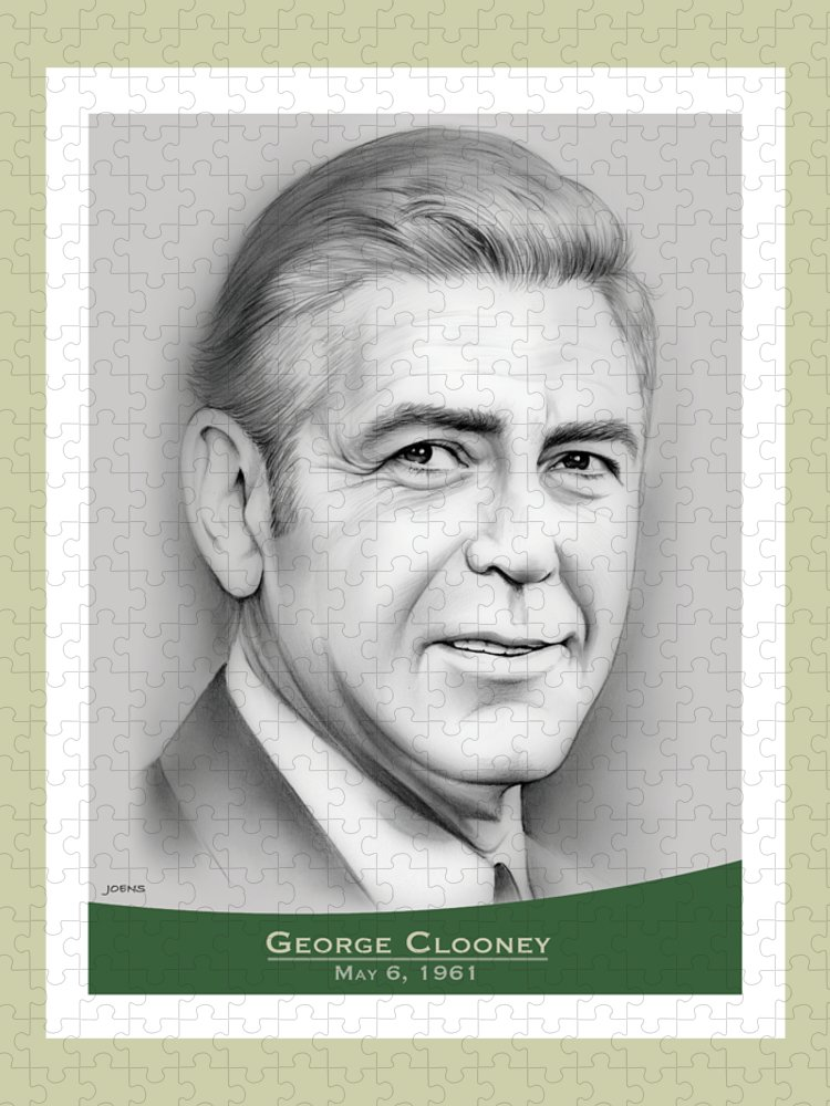 George Clooney Puzzle featuring the drawing George Clooney birthday by Greg Joens