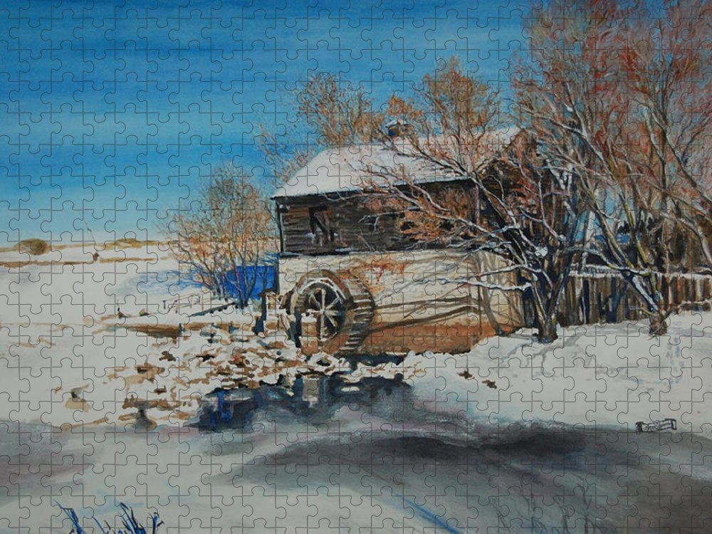 Mill Puzzle featuring the painting Grants Old Mill by Susan Moore