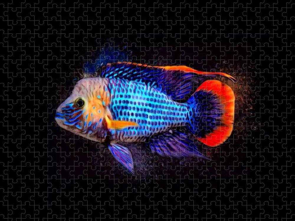 Green Terror Puzzle featuring the digital art Green Terror Cichlid Fish by Scott Wallace Digital Designs