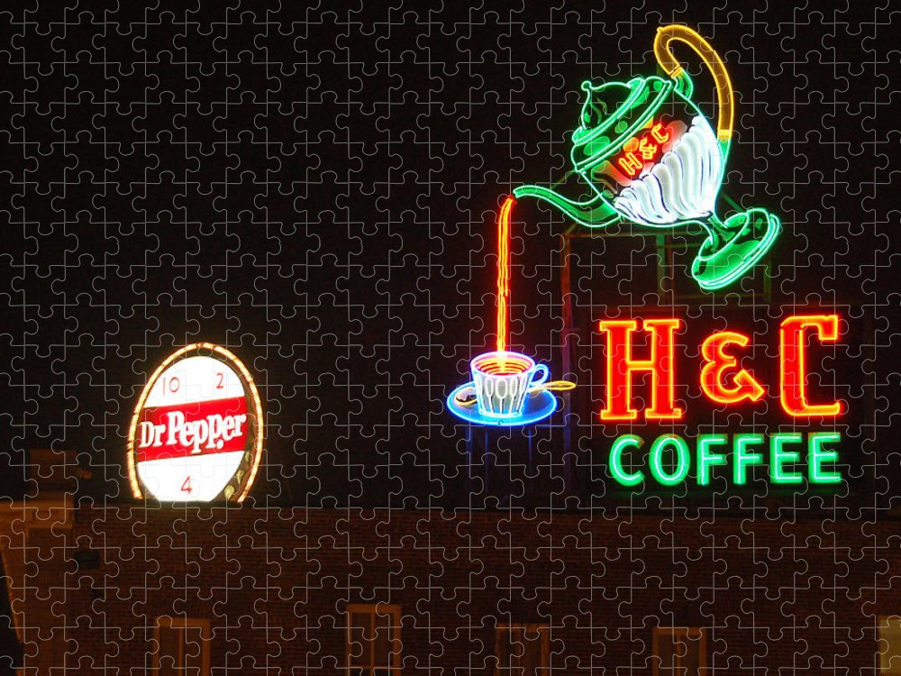 H C Coffee Puzzle featuring the photograph H and C Coffee Sign Roanoke Virginia by Suzanne Gaff