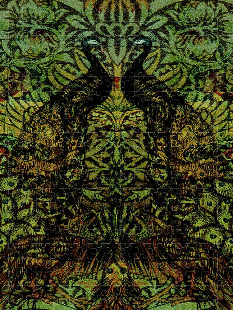 Peafowls Puzzle featuring the digital art Indian Blue Peafowl Pattern by Sarah Vernon