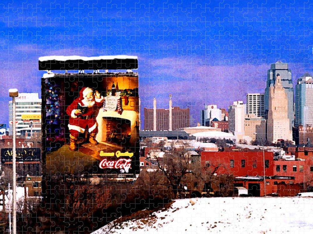 City Puzzle featuring the photograph Kansas City Skyline at Christmas by Steve Karol