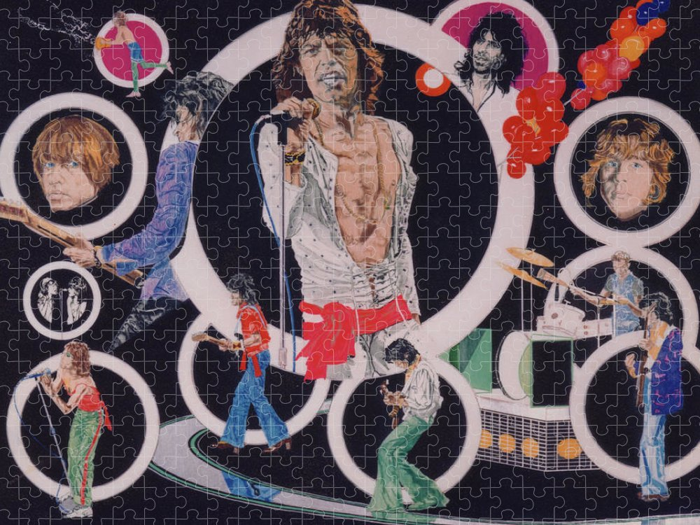 The Rolling Stones Puzzle featuring the drawing Ladies And Gentlemen - The Rolling Stones by Sean Connolly