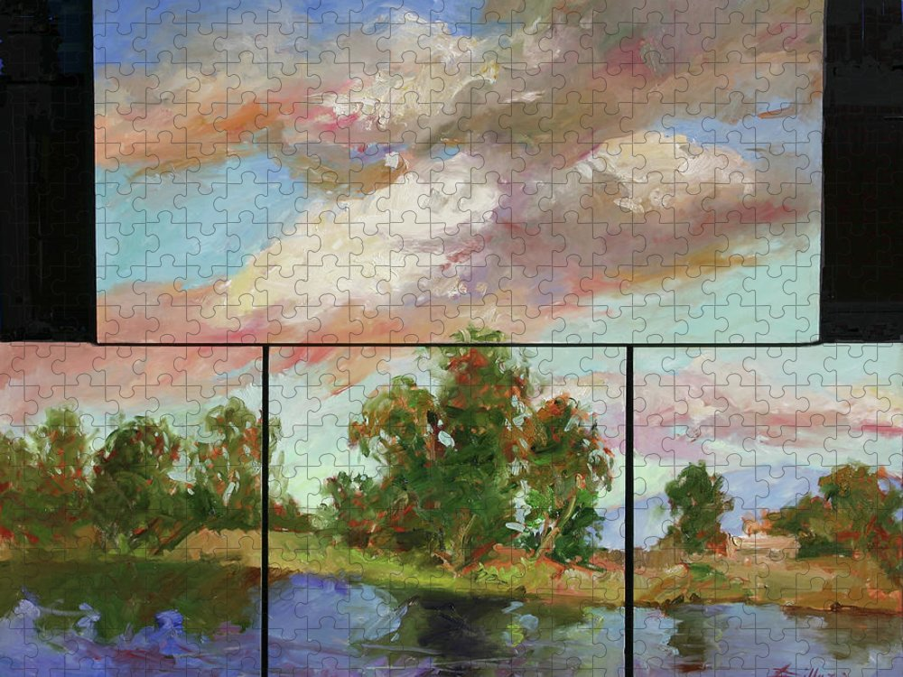 Murals Puzzle featuring the painting Last of Sand Creek - Plein Air by Betty Jean Billups