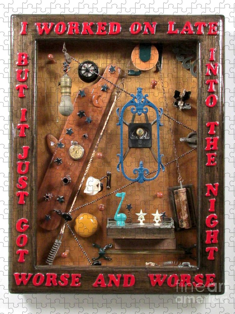 Found Objects Puzzle featuring the sculpture Late Into The Night  by Bill Czappa