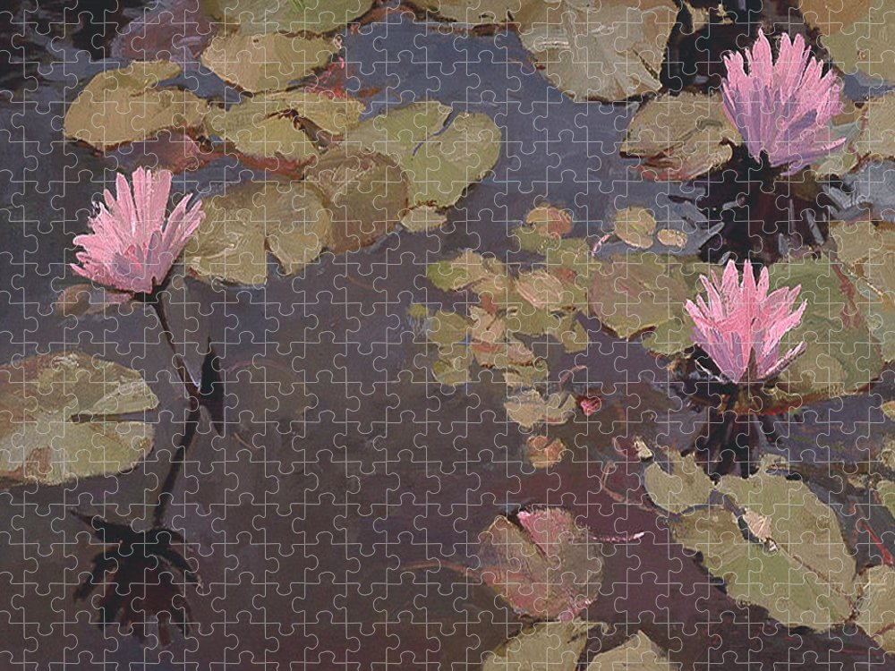 Wate Lilies Puzzle featuring the painting Lilies II by Betty Jean Billups