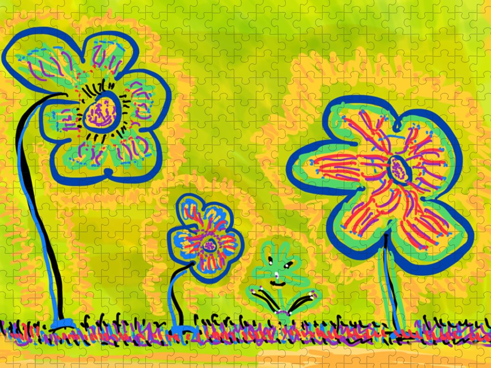 Spring Puzzle featuring the drawing Looking for Spring by Pam Roth O'Mara