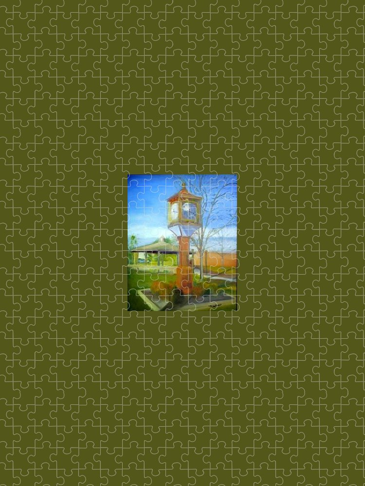 Maple Shade Puzzle featuring the painting Maple Shade Clock by Sheila Mashaw