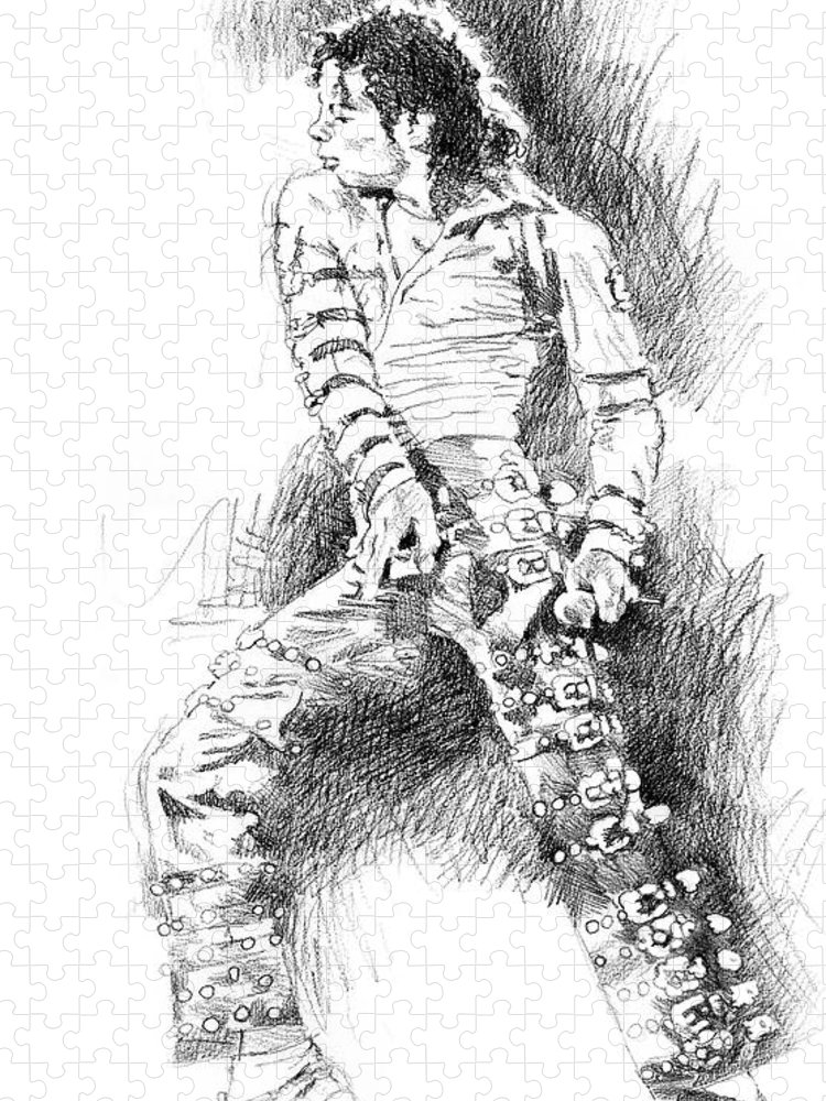 Michael Jackson Puzzle featuring the drawing Michael Jackson - Onstage by David Lloyd Glover