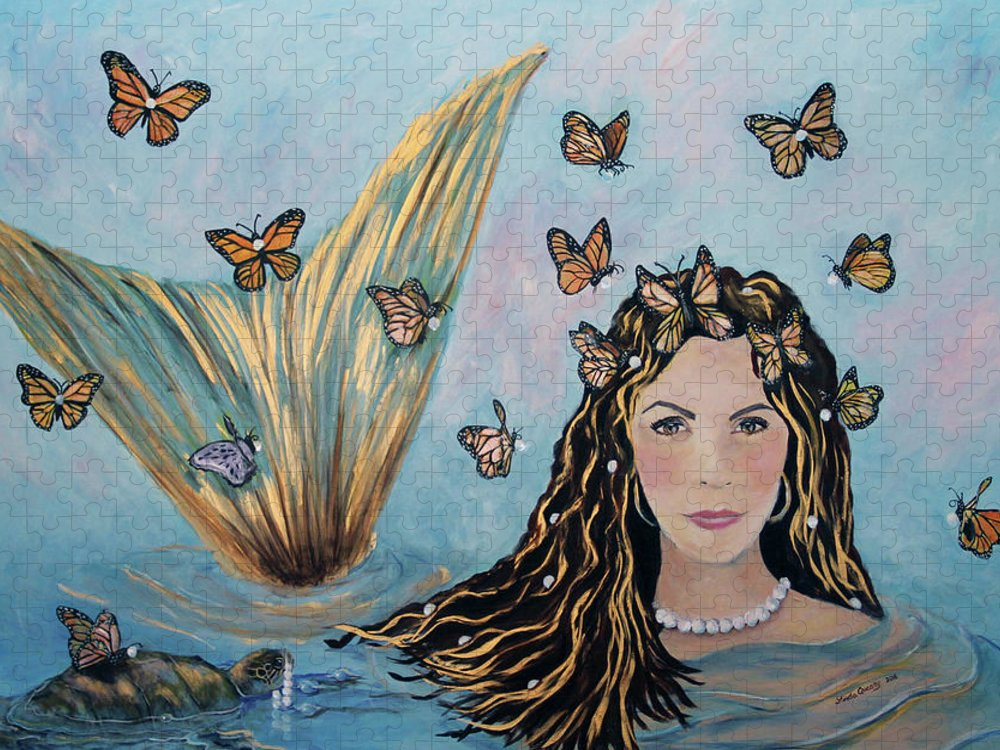Mermaid Puzzle featuring the painting More Precious Than Gold by Linda Queally