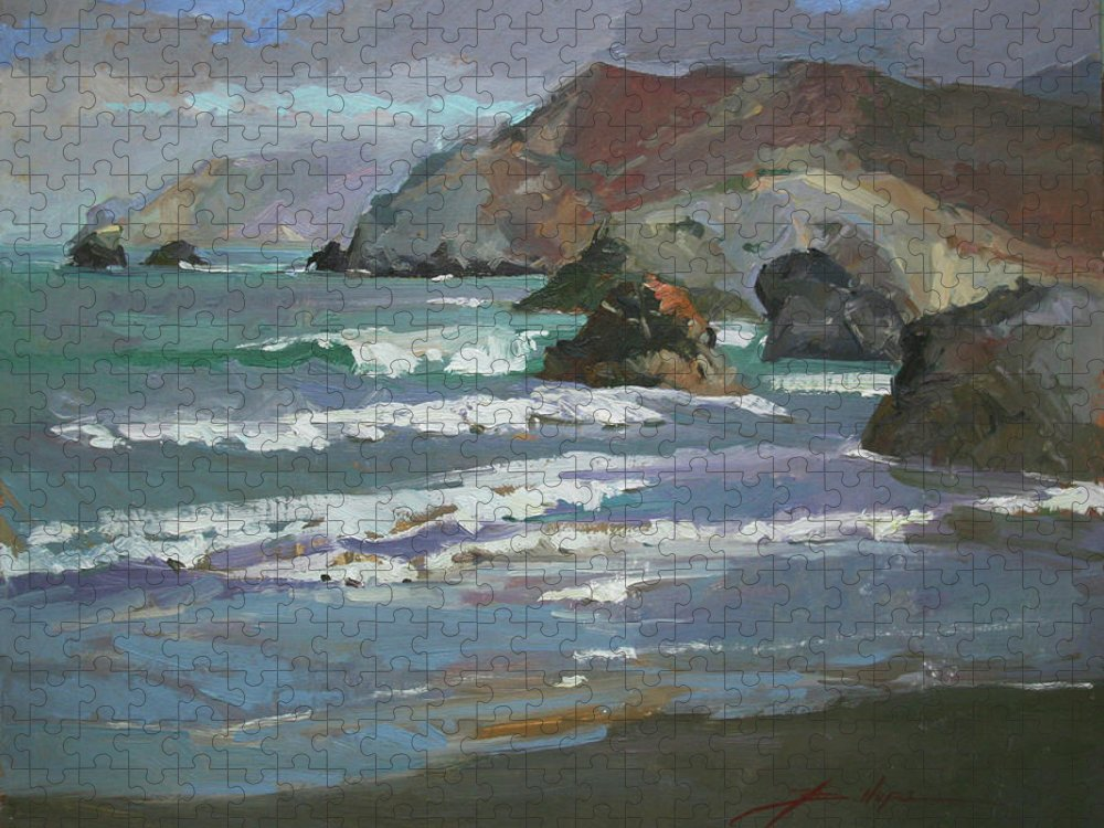 Seascape Puzzle featuring the painting Morning Fog Shark Harbor - Catalina Island by Betty Jean Billups