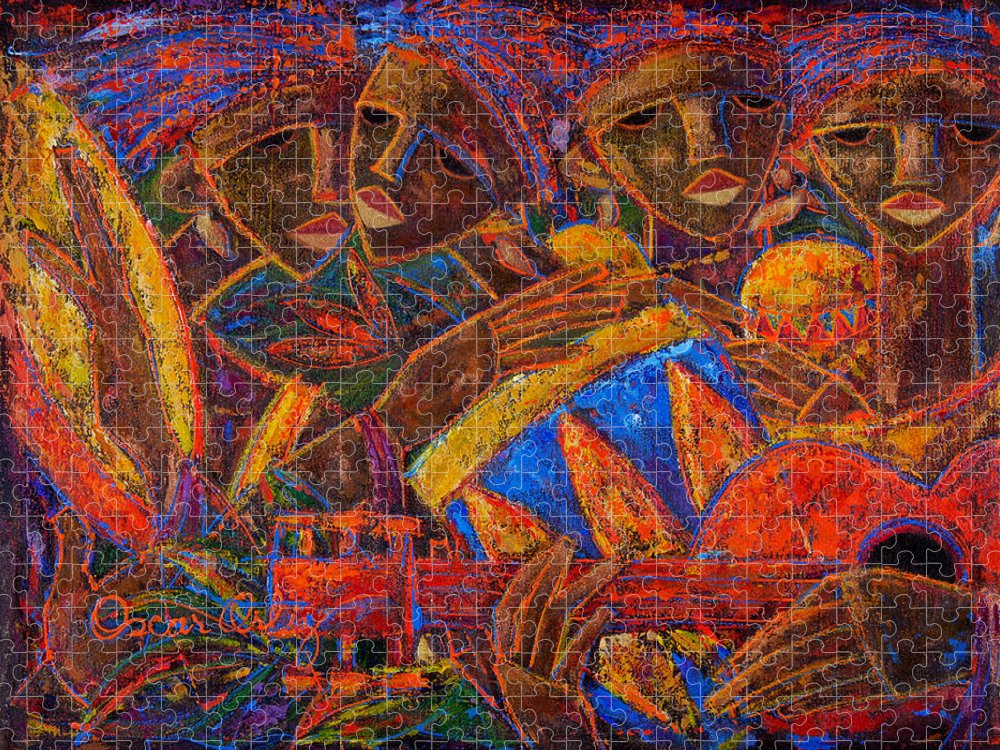Puerto Rico Puzzle featuring the painting Musas Del Caribe by Oscar Ortiz