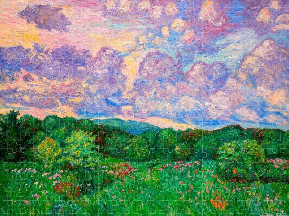 Landscape Puzzle featuring the painting Mushroom Clouds by Kendall Kessler