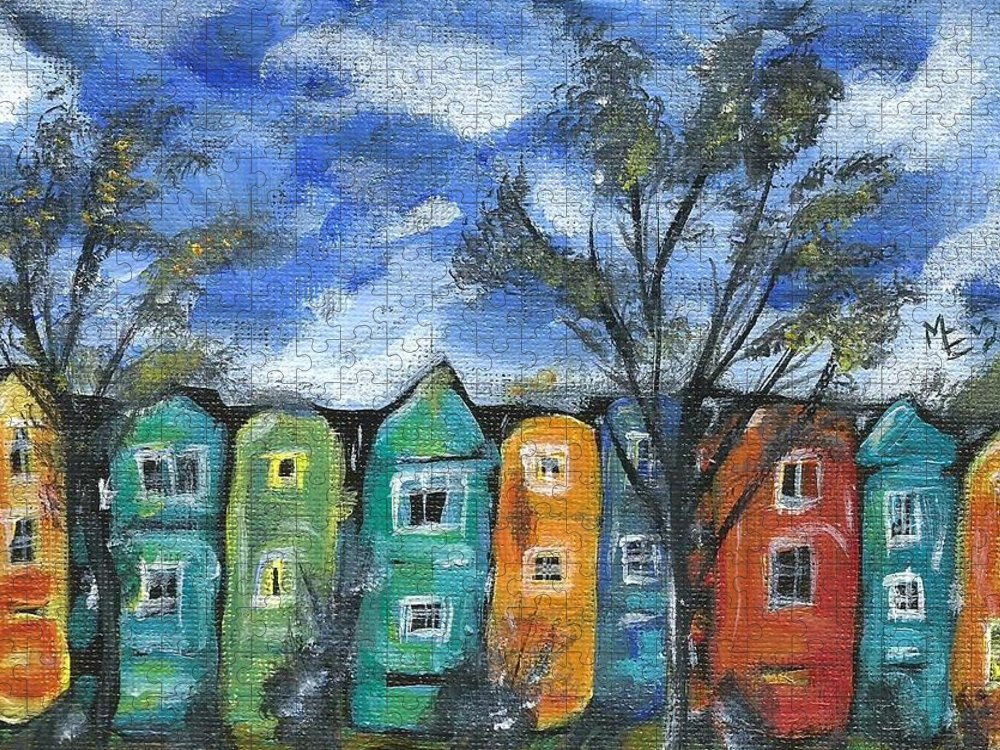 Neighborhood Painting Puzzle featuring the painting Neighborhood by Monica Resinger