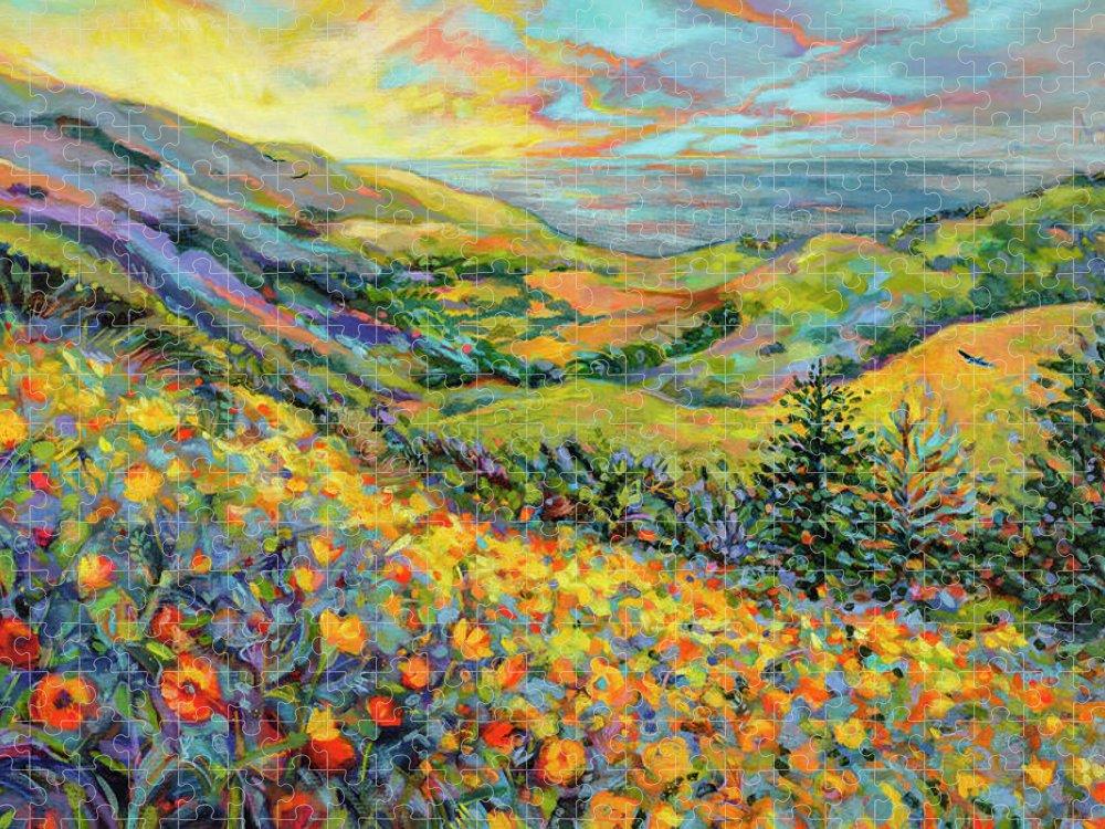 Jen Norton Puzzle featuring the painting Novato Sunrise by Jen Norton