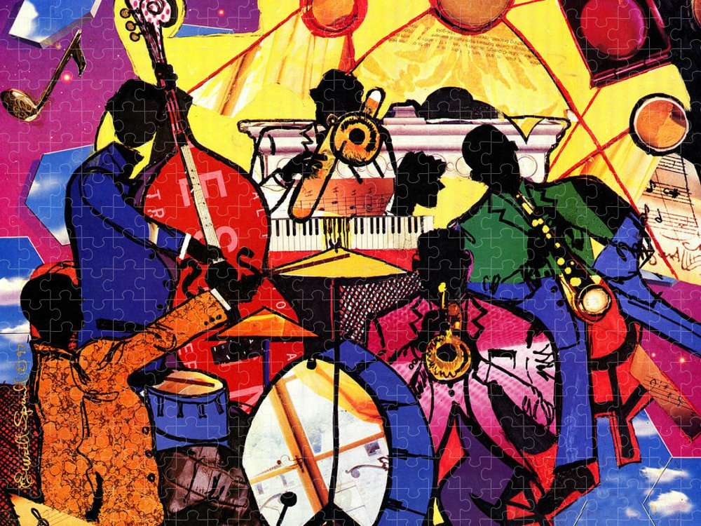 Everett Spruill Puzzle featuring the painting Old School Jazz by Everett Spruill