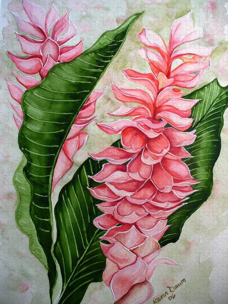 Flower Painting Floral Painting Botanical Painting Ginger Lily Painting Original Watercolor Painting Caribbean Painting Tropical Painting Puzzle featuring the painting Pink Ginger Lilies by Karin Dawn Kelshall- Best