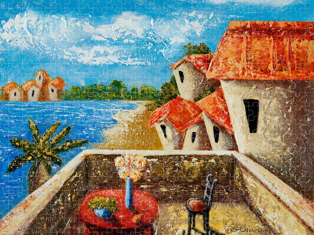 Landscape Puzzle featuring the painting Playa Gorda by Oscar Ortiz