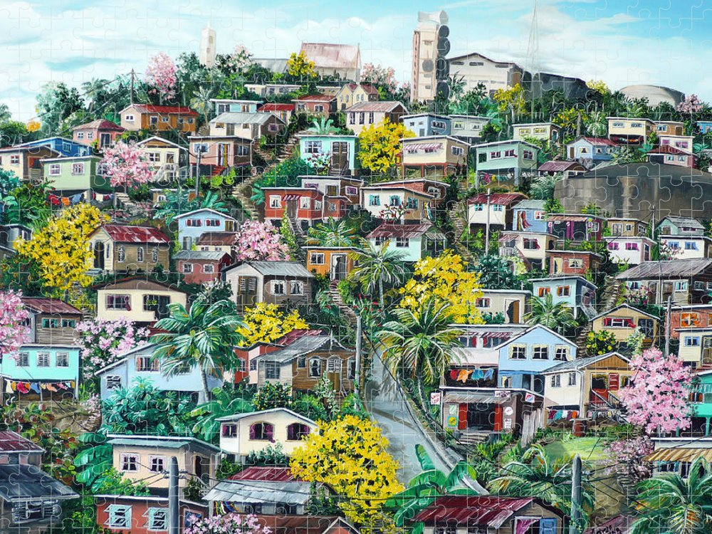 Landscape Painting Cityscape Painting Original Oil Painting  Blossoming Poui Tree Painting Lavantille Hill Trinidad And Tobago Painting Caribbean Painting Tropical Painting Puzzle featuring the painting Poui On The Hill by Karin Dawn Kelshall- Best