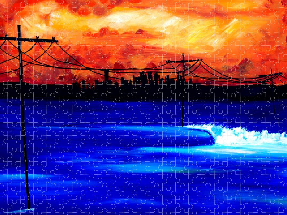 Power Trip Was Created To Mix Urban And Aquatic Scenery. I Was Inspired To Put Power Lines In For Showing Our Future State Of Global Warming. Surf Art Waves. Puzzle featuring the painting Power Trip - surf art by Nathan Paul Gibbs