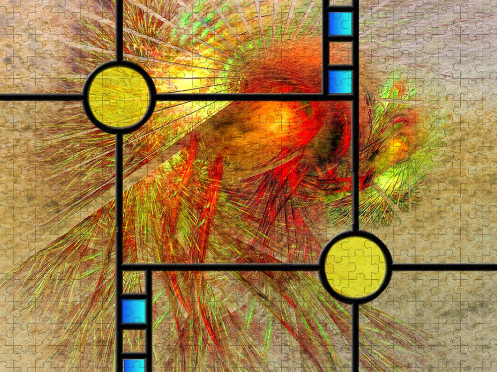 Frank Lloyd Wright Puzzle featuring the digital art Prairie View - Square Version by Studio B Prints