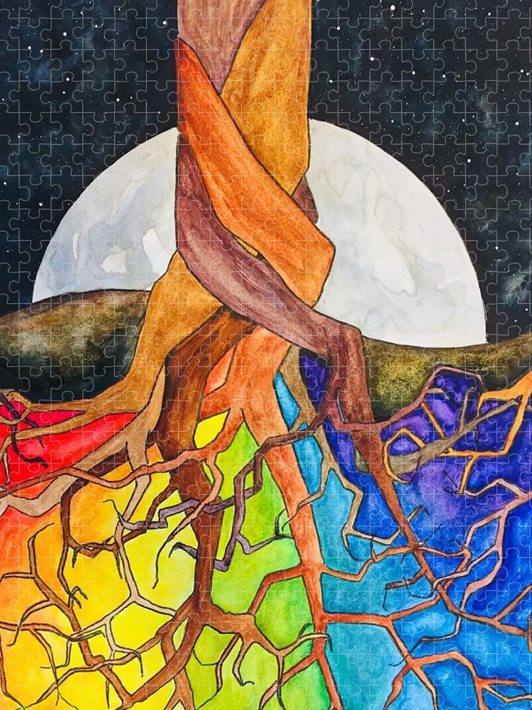 Rainbow Puzzle featuring the painting Rainbow Soil with Moon by Vonda Drees