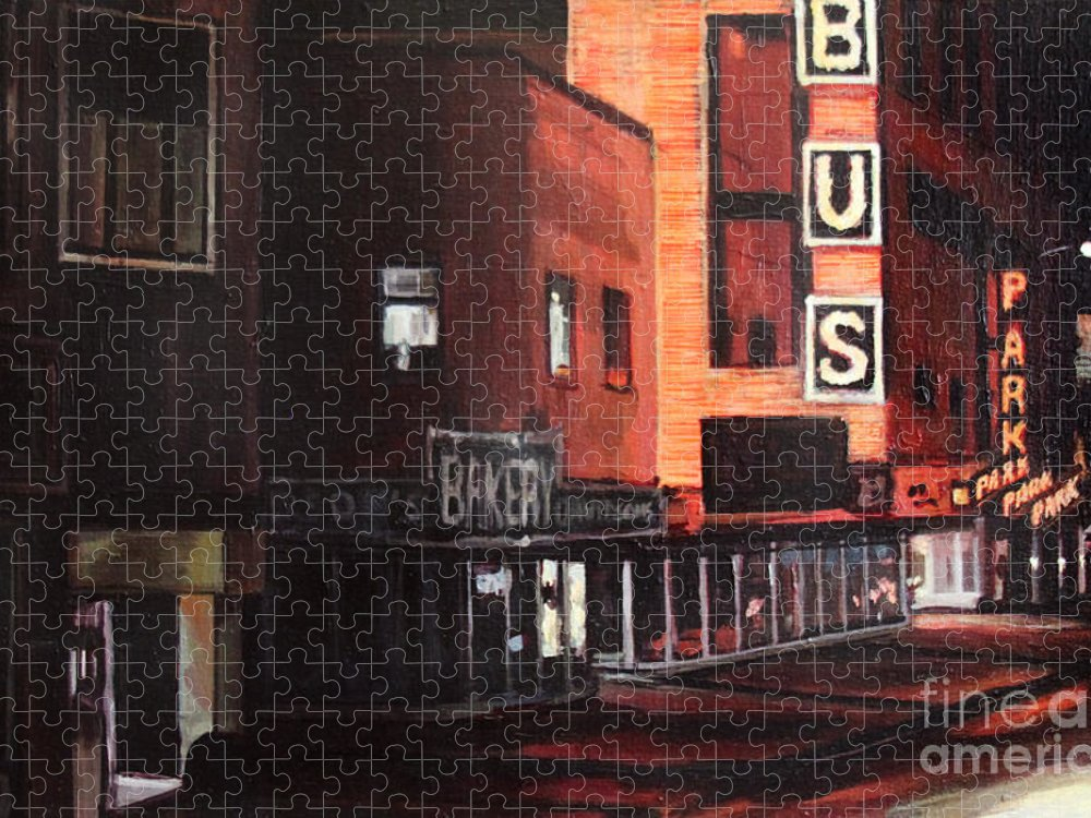 Chicago Puzzle featuring the painting Randolph at Night by Christopher Buoscio