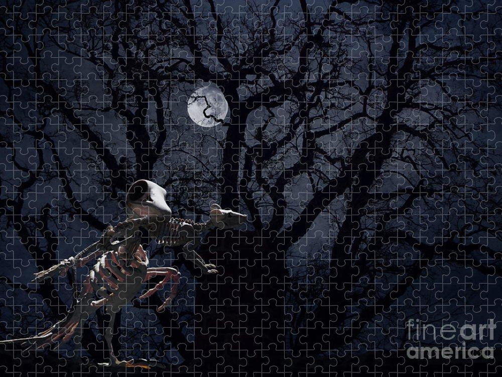 Raven Puzzle featuring the photograph Raven and Rat Skeleton in Moonlight - Halloween by Colleen Cornelius