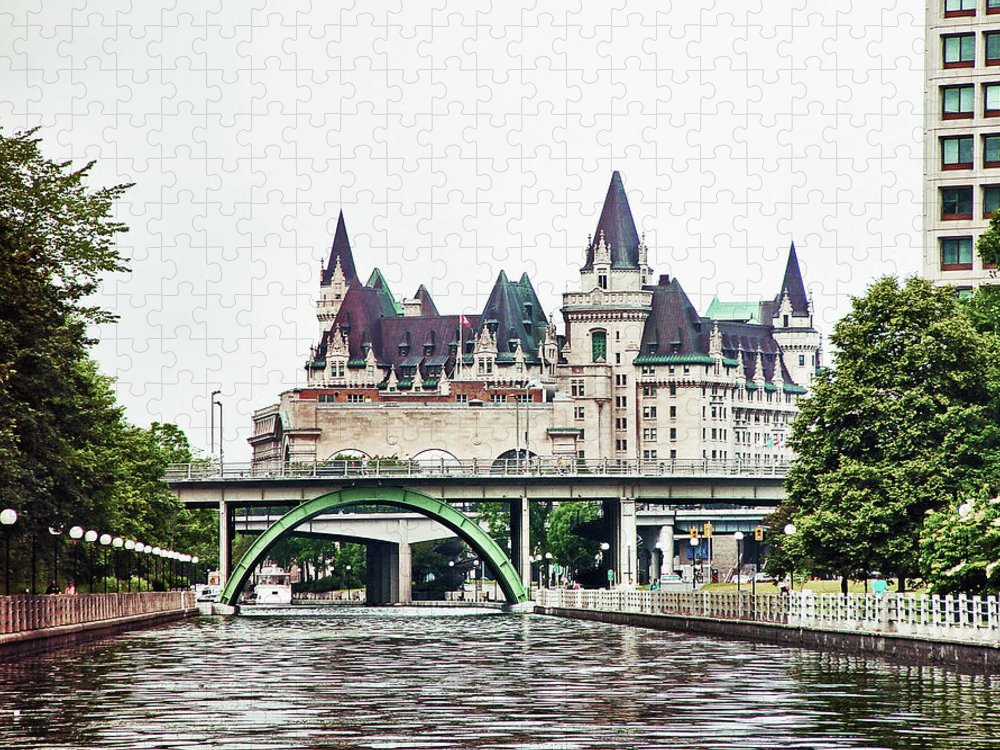 Ottawa. Canal Puzzle featuring the photograph Rideau Canal approaching down town Ottawa by Peggy Holcroft
