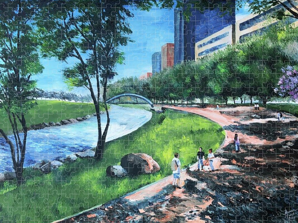 River Puzzle featuring the painting Riverwalk by Lauren Luna