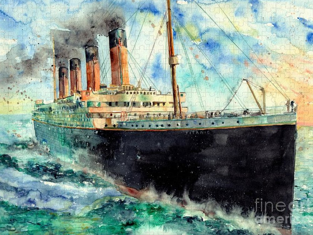 Rms Titanic Puzzle featuring the painting RMS Titanic White Star Line Ship by Suzann Sines