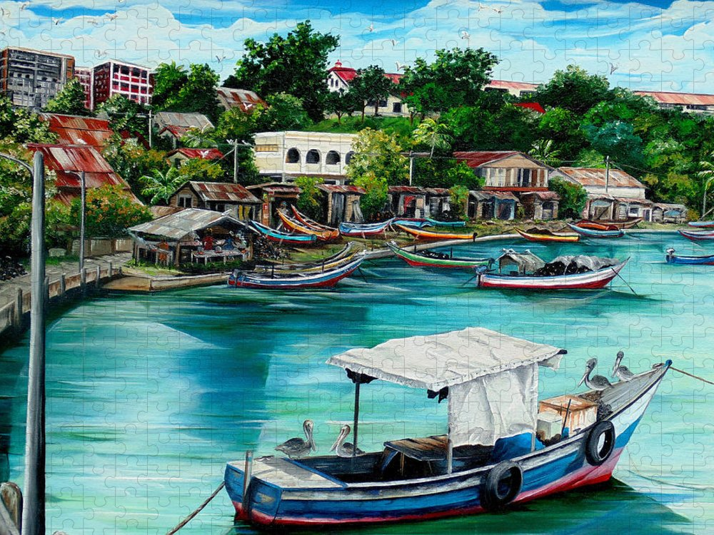 Ocean Painting Sea Scape Painting Fishing Boat Painting Fishing Village Painting Sanfernando Trinidad Painting Boats Painting Caribbean Painting Original Oil Painting Of The Main Southern Town In Trinidad  Artist Pob Puzzle featuring the painting Sanfernando Wharf by Karin Dawn Kelshall- Best