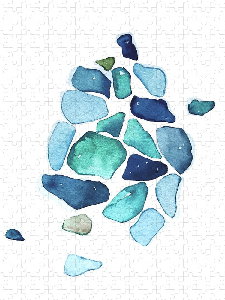 Sea Puzzle featuring the painting Sea Glass by Luisa Millicent