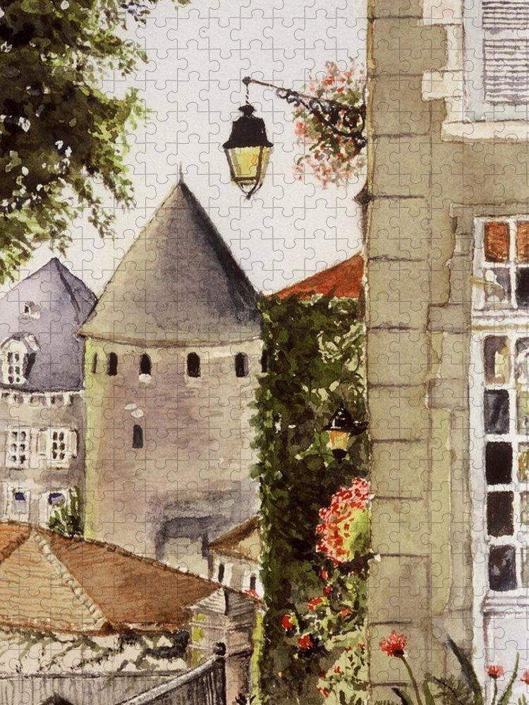 France Puzzle featuring the painting Semur en Auxois by Mary Ellen Mueller Legault