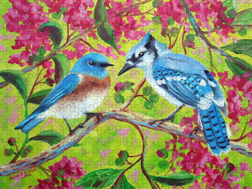 Birds Puzzle featuring the painting Sharing A Branch by David G Paul