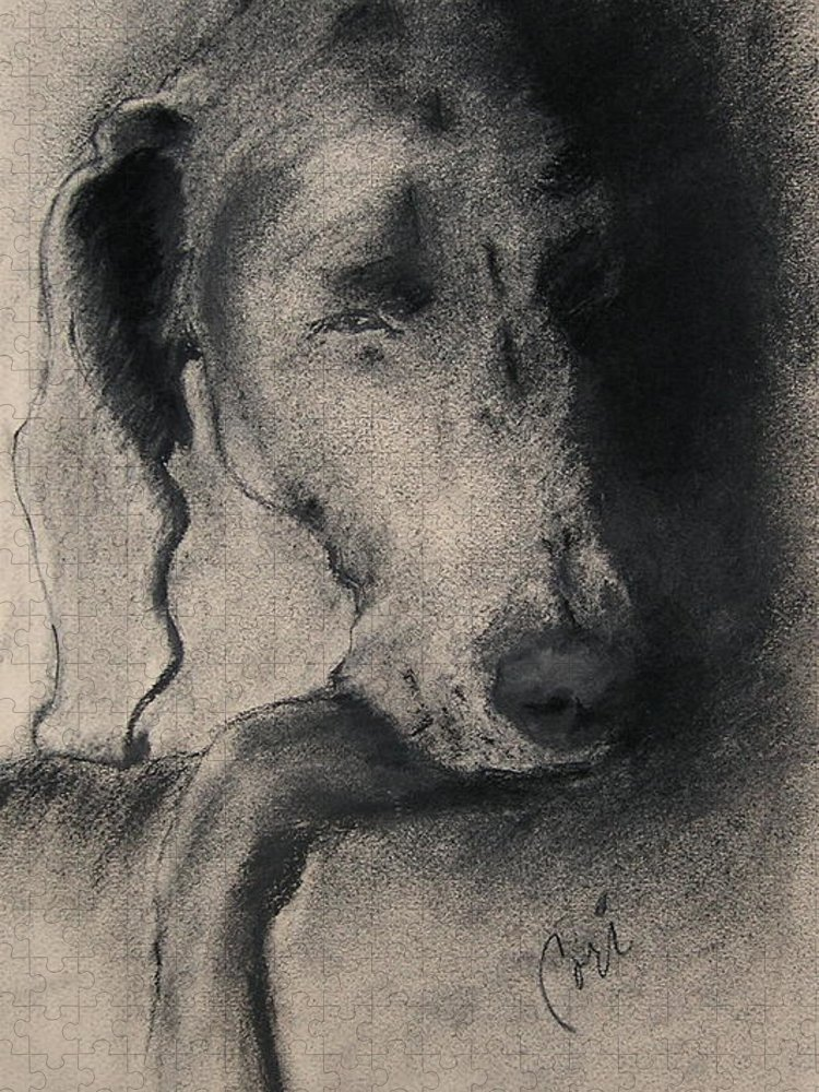 Weimaraner Puzzle featuring the drawing Silhouette by Cori Solomon