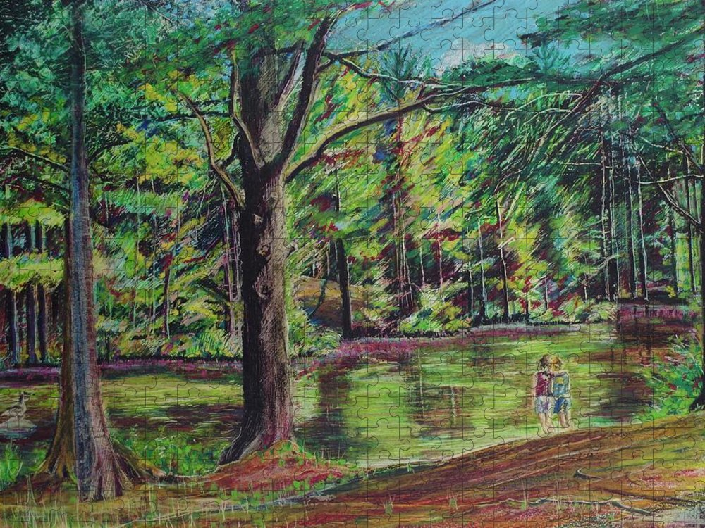 Family Puzzle featuring the pastel Sisters At Wason Pond by Sean Connolly