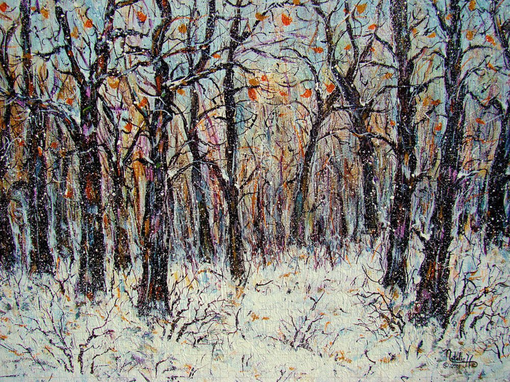 Landscape Puzzle featuring the painting Snowing In The Forest by Natalie Holland