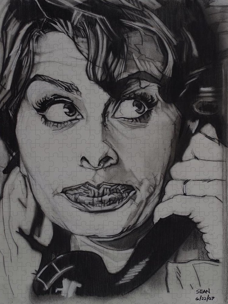 Charcoal On Paper Puzzle featuring the drawing Sophia Loren Telephones by Sean Connolly